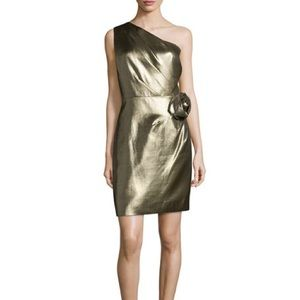 Halston/Heritage Gold Metallic One Shoulder Dress